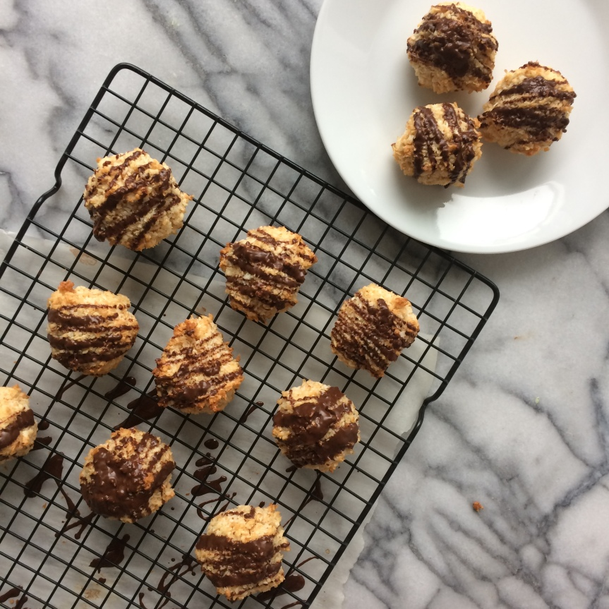 Coconut Macaroons with Chocolate Glaze
