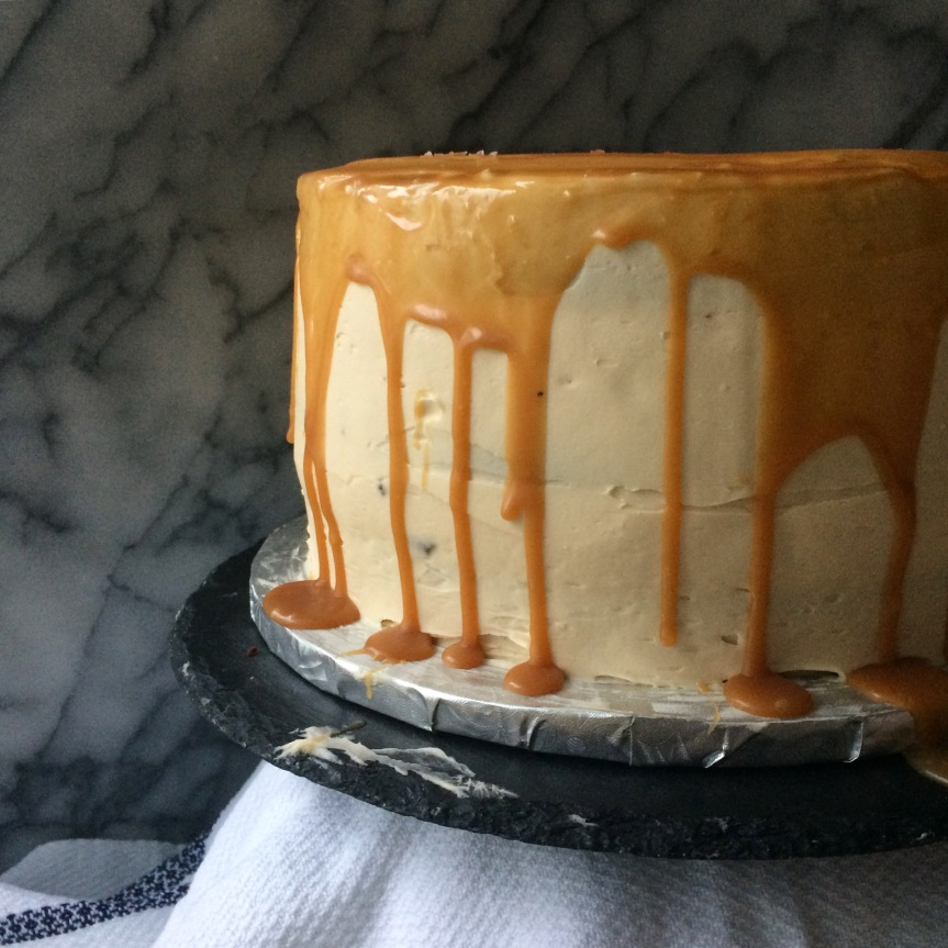 Chocolate Stout Layer Cake with Salted Caramel Frosting and Drizzle