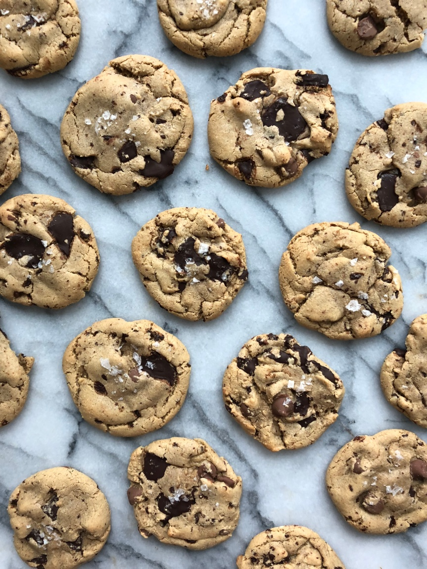 Brown Butter Tahini Chocolate PuddleCookies